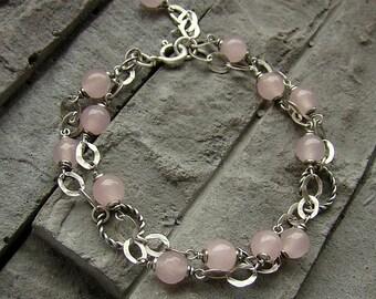 Rose quartz sterling silver multi bracelet / oxidized silver