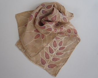 Wheat design silk scarf. Brown wheat scarf