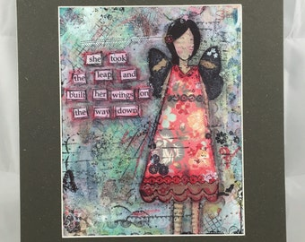 She Took the Leap- Matted 11x14 Mixed Media Art Print