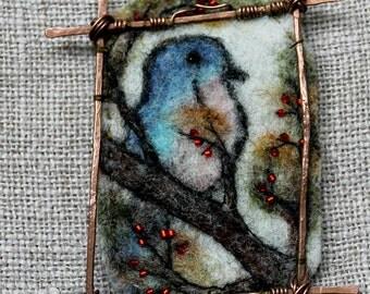 Felted pendant, Felt necklace, Felt accessory, The landscape pendant Bird, Boho style, Hand-made