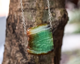 Green Dragon's Vein Agate on Sterling Silver