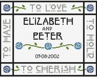 Mackintosh Style 'Blue Rose' Personalisable Cross Stitch Wedding Sampler Pattern