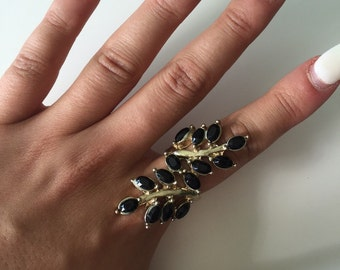 Gold & Black Leaf Wrap Ring Size Small