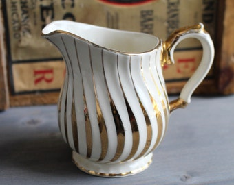 Vintage ceramic creamer Sadler England with golden stripes - Creamer golden - Creamer Sadler England - Vintage Milk Jug Orange Rétro