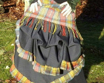 Wool skirt steampunk style bustle festival Funky and dramatic clothing, Fabrics vary according to availability.Bespoke made to fit