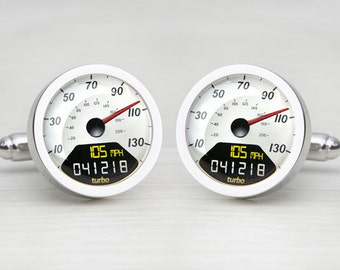 Digital White Personalised Speedometer Cufflinks
