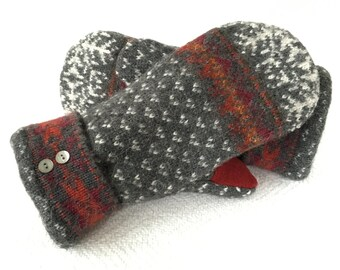 Wool Mittens, Felted Wool, Sweater Mittens, Women's Mittens, Fleece Lined Mittens, Gift, Recycled Sweater Mittens