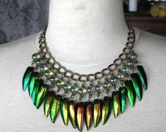 Beetlewing Necklace  made of rainbow beetle elytras/wings and bohemian cristal beads