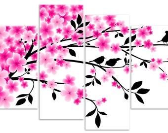 Flora - Cherry Blossom Flower Tree Branch with Birds - 4 Panel Canvas Art Print Picture Overall Size 104cm x 69cm - by Rubybloom Designs