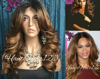 Beyonc e ombre Sombre Dark Blonde Auburn Chesnut Brown Human Hair Blend Realistic Lace Front Wig