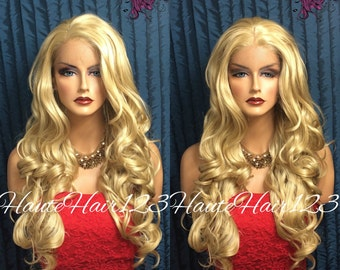Golden Blonde Wavy Curly Multi-Parting Lace Front Wig