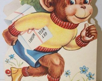 Vintage Get Well  Soon Die-Cut Card from the 1940's -Skating Monkey - UNUSED