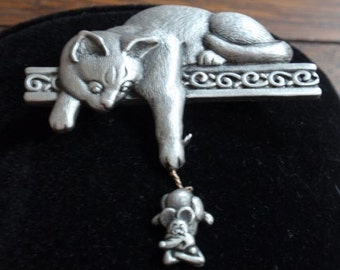 J. J. Pewter Cat Brooch Catching Mouse