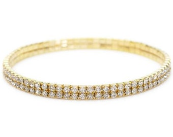 Gold Plated Rhinestone Crystals Bangle/Anklet