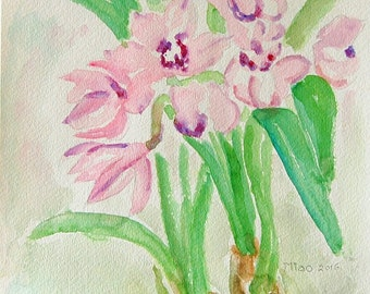 Spring Smile original watercolor painting by Miao Yeh, 24x18, floral, portion of proceed supports Parkinson's research.