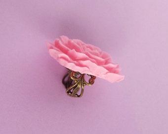 Lovely Rose Carnation Pink Flower Adjustable Filigree Ring