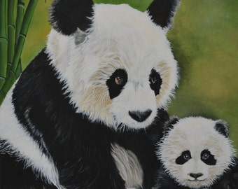 Panda Portrait acrylic on canvas,  varnish, ready to frame