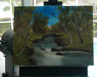 Bob Ross Style Original - Whispering Stream