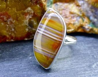 Scottish Burn Anne Agate Adjustable Silver Ring (item number 6964)