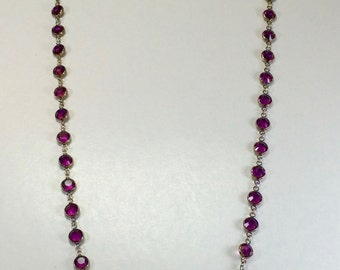 "Raindrops Necklace - Amethyst/Rhodium 36"" Swarovski crystal"
