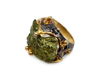 Jade Gold Ring. 925 sterling silver w 18k  gold plated