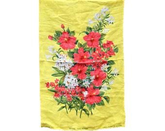 Vintage Towel, Vintage Dish Towel, Vintage Kitchen Towel, Vintage Hand Towel, Irish Linen Towel, Bermuda, Red Hibiscus, Yellow Towel, Flower