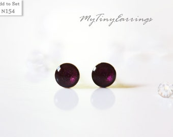 4mm Violet Rasin Stud Earrings Mini Tiny Shimmery - Gold Plated Stainless Steel Posts plus High Quality Epoxy Resin - Moon Line 154