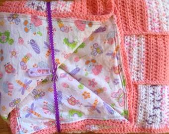 Bugs Pink, Lavander, White Baby Girl Blanket