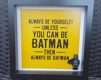 Batman Lego Minifigure Frame, batman decal, batman decor, batman cowl, batman cufflinks, batman cushion, batman engagement, batman wedding