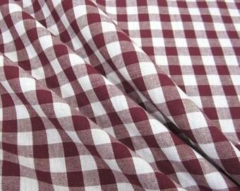 cotton fabric woven check bordeaux white 1cm France