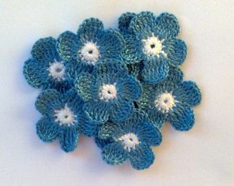 Crochet Flowers for applications / Set of 10 Pieces Crochet Flowers / Crochet Scrapbooking/Crochet Applique/