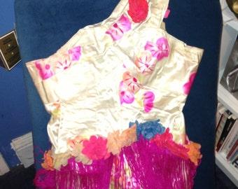 Aloha!!! One of a kind splendid 40s vintage burlesque silk Hawaiian print one piece handmade costume