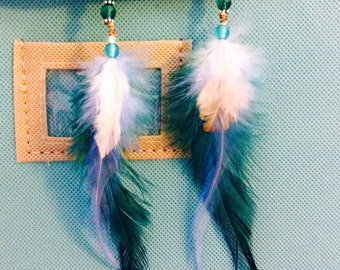 Green and turquoise feather earrings