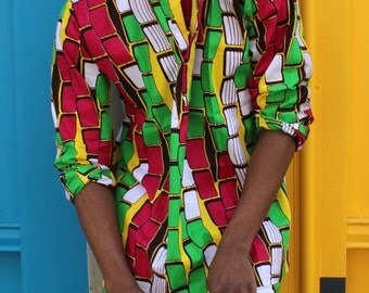 African Top - Hamed Top - Colourful Shirt - African Shirt - African Wax Print Tshirt - Wax Shirt Mens - Festival Top - Festival Shirt
