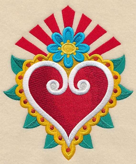Heart And Flower Milagro Embroidered On A Flour Sack Towel