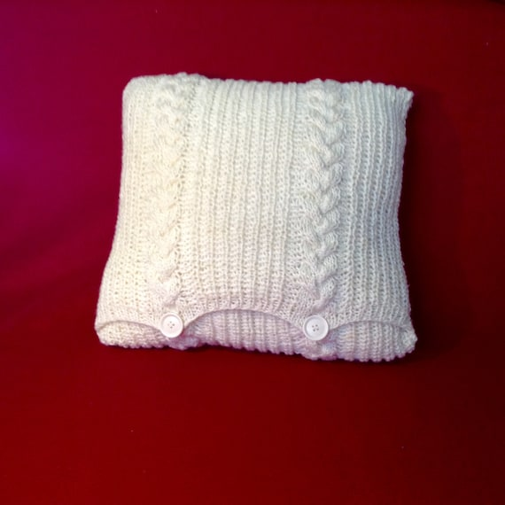 Oblong Cushion Knitting Pattern : Decorative square pillow knitted light-beige by TheRootsoftheSoul