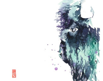 Bison Watercolor Fine Art Giclee Print / Buffalo painting/ Wildlife painting/ Animal watercolor