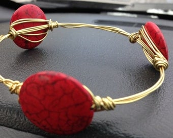 Red stone gold bangle / Mother's Day/ Jewelry / Bridesmaids gifts