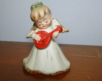 Lefton Angel Bell - Angel Playing String Instrument - Great Collectible!