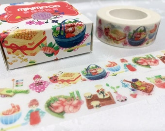 Japanese food washi tape 10M japan culture Kimono kokeshi dolls traditional patterns sticker tape hot pot Japanese Tea Ceremony decor tape