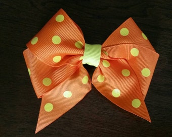 "Orange with Yellow Polka Dots 4"" Grosgrain Hair Bow"