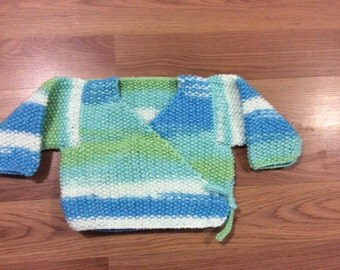 Cozy Baby Wrap and Tie Cardigan  - No Buttons! Size 6/12 Months Hand Knit