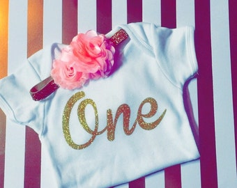 1 st Birthday Onesie & Bow set