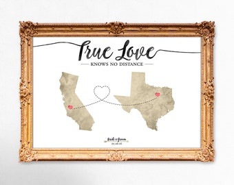 Map wedding guest book - True love knows no distance - 20x30 - 24x36 - 18x24 PRINTABLE