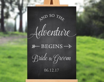 Wedding welcome sign - and so the adventure begins - PRINTABLE - Rustic - 16x20 - 18x24 - 20x30 - 24x36