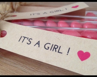 Baby Shower Favours | It's a Girl! Pink Jelly Bean Test Tubes with tags