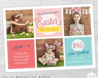 Easter Photography Marketing Board Template, Easter Mini Session Template, Photography Marketing, Facebook, Photoshop, Photographer - 06-006