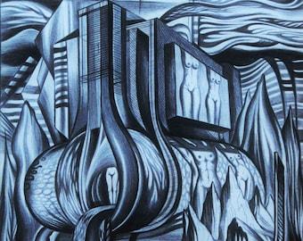 Reproduction Machine. Drawing. Visionary, Surreal, Fantasy, Provenance art.