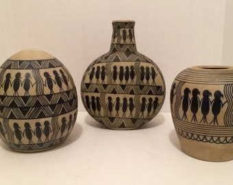 Three piece ceramic pottery set