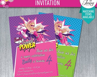 BARBIE in Princess Power birthday invitation - Made to order